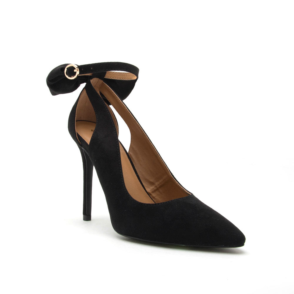 839b60a8bea Qupid Women Shoes Show-39 Black Bow On Ankle Strap Pump
