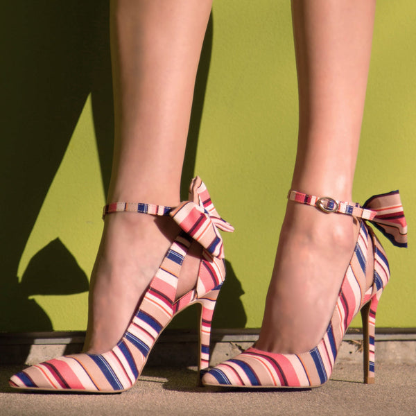 Show-39 Coral Multi Bow On Ankle Strap Pump