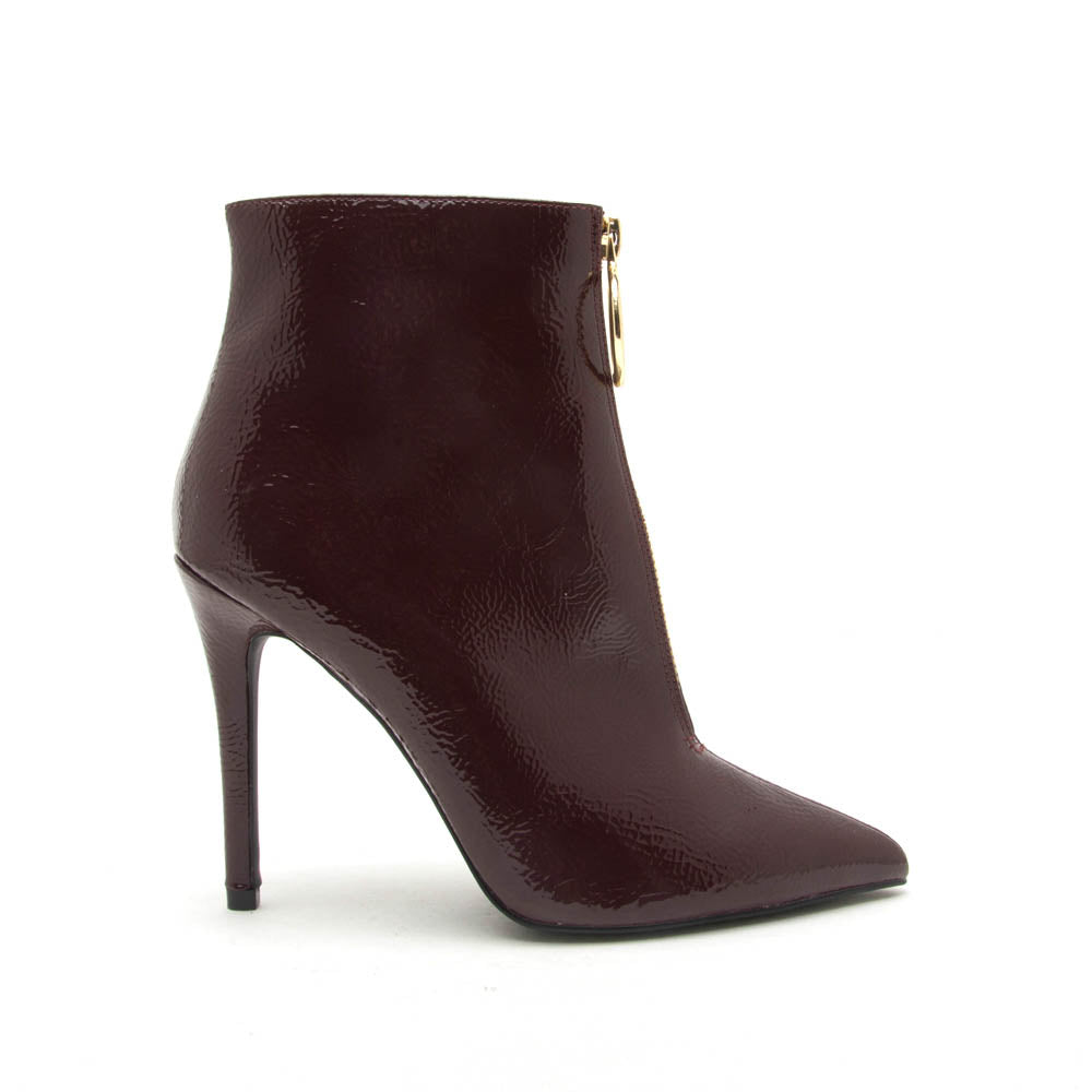 Show-59XXX Burgundy Patent Zipper On Center Seam Bootie