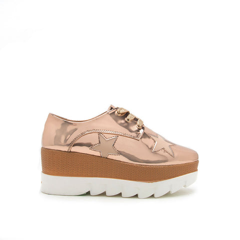 Showdown-02 Rose Gold Metallic Platform Loafer