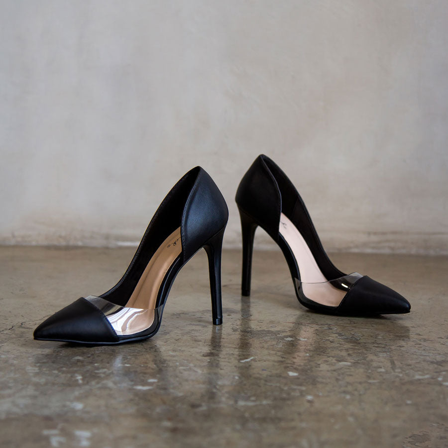 Showoff-13 Black Open D'Orsay Pumps