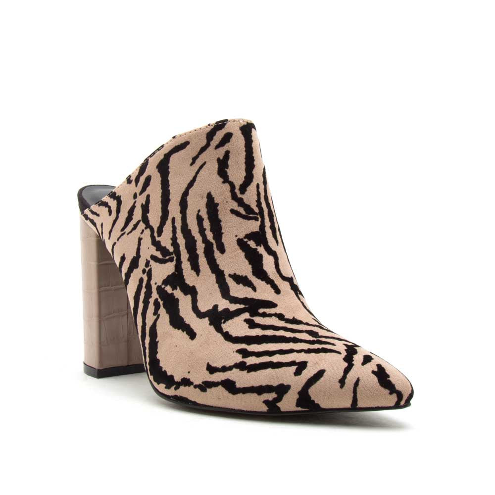 Signal-113 Taupe Black Tiger Mule Pumps