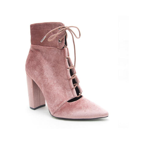 SIGNAL-19 Blush Velvet Lace-up Bootie