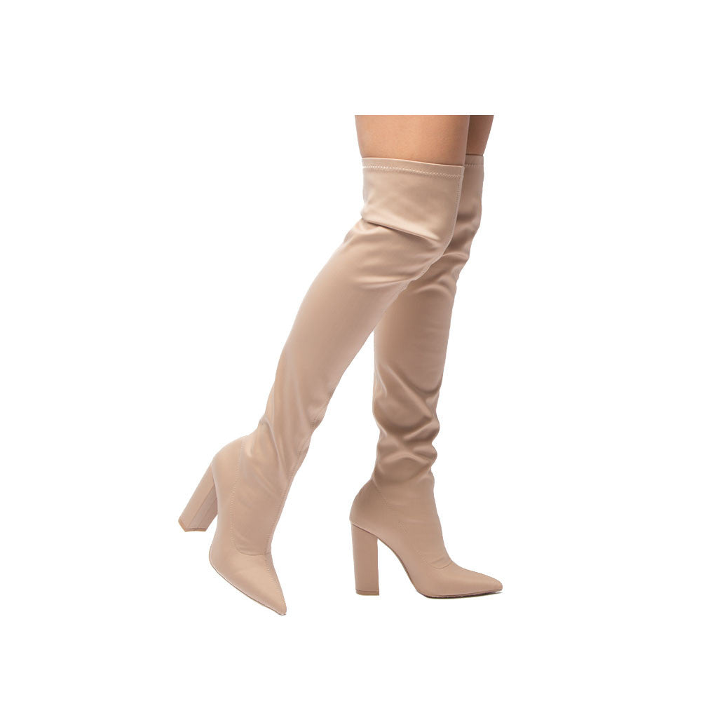 a48b6bb10ff4 Qupid Women Shoes SIGNAL-20 Nude Knee High Boot