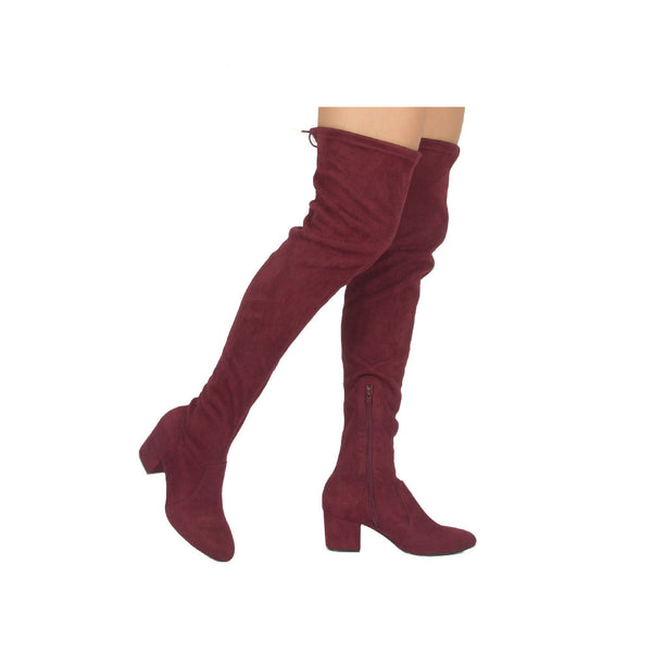 Skipper-01X Burgundy Over The Knee Boot