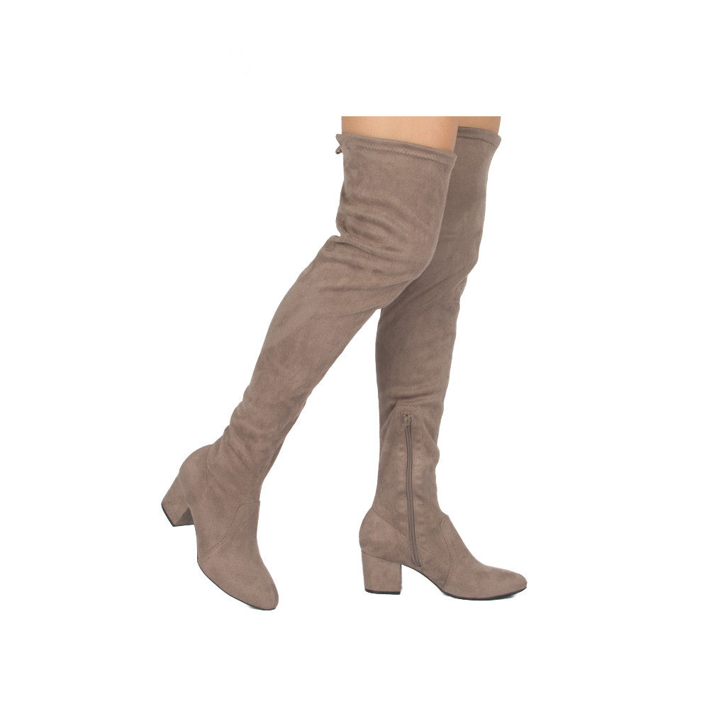 Skipper-01X Taupe Over The Knee Boot