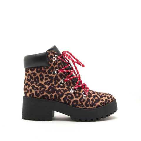 Skyscraper-02X Camel Leopard Lace Up Booties