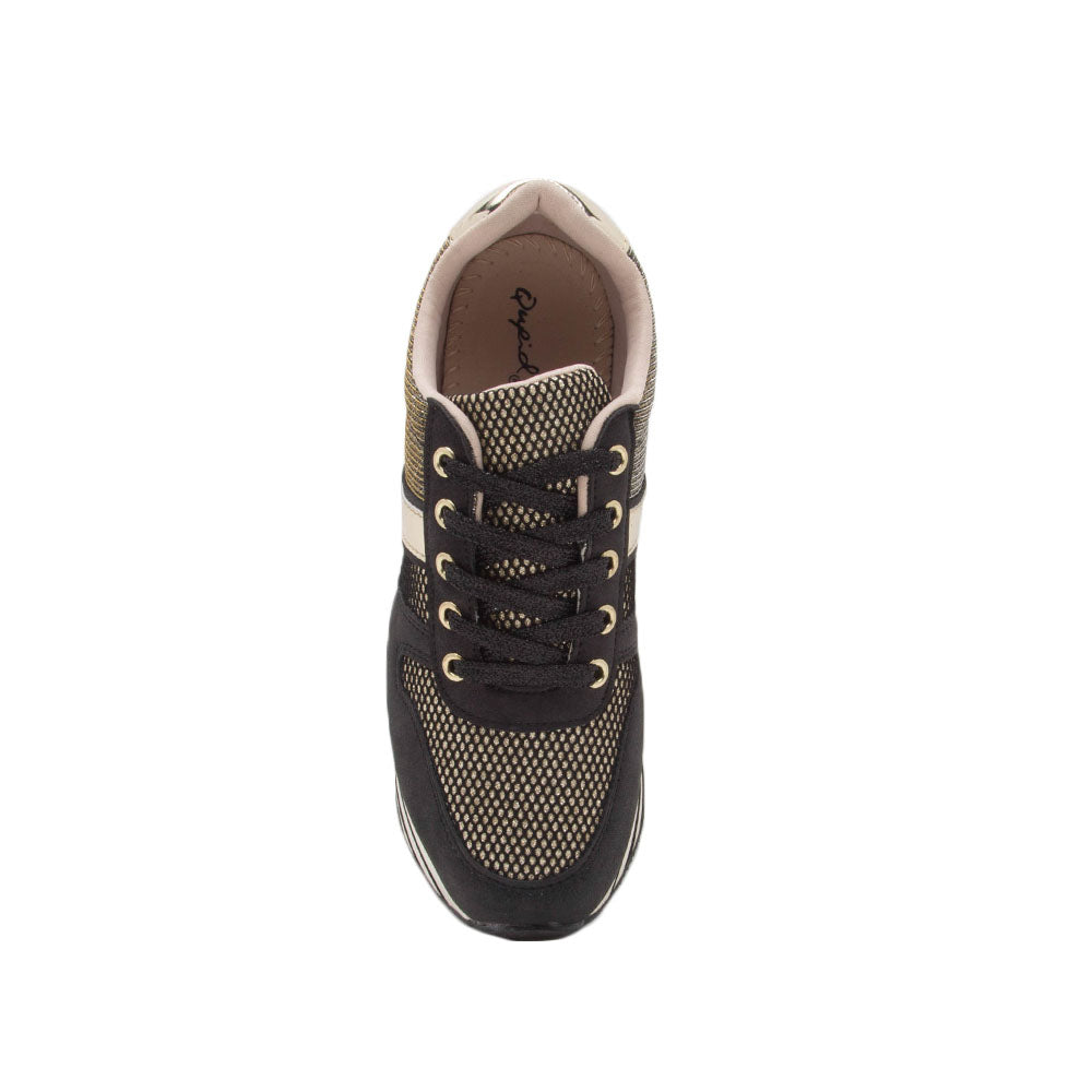 Skywalk-02 Black Gold Lace Up Sneaker