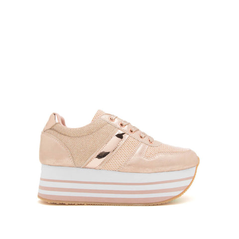 Skywalk-02 Rose Gold Lace Up Sneaker