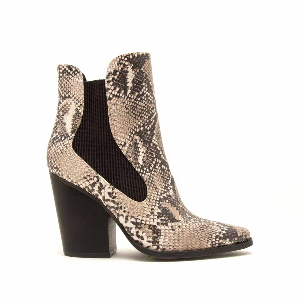 Slay-02X Beige Brown Snake Booties