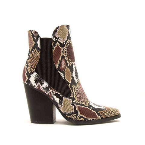 cab327ade469 Slay-02X Camel Multi Snake Booties
