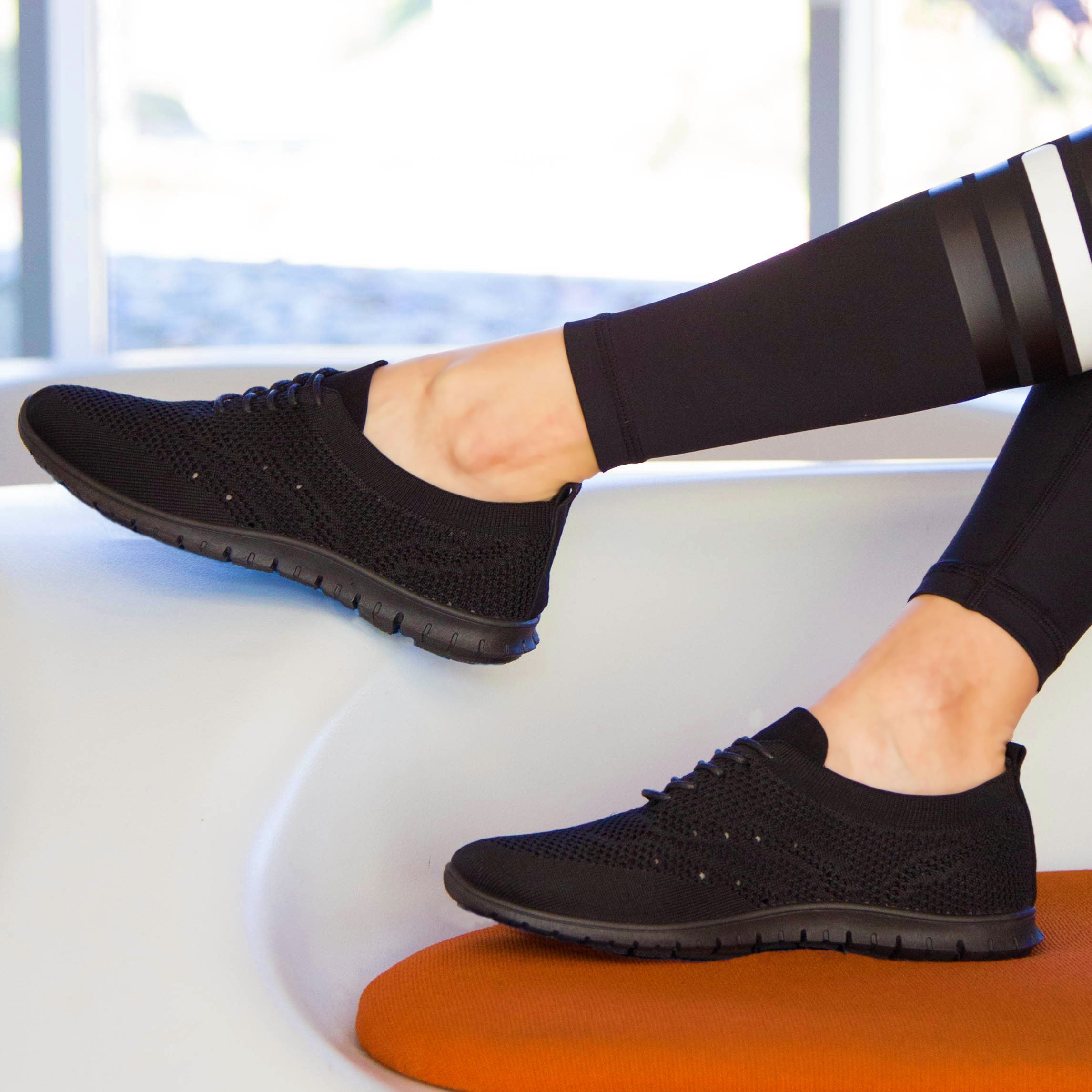 Slider-01 Black Flynit Lace Up Sneaker