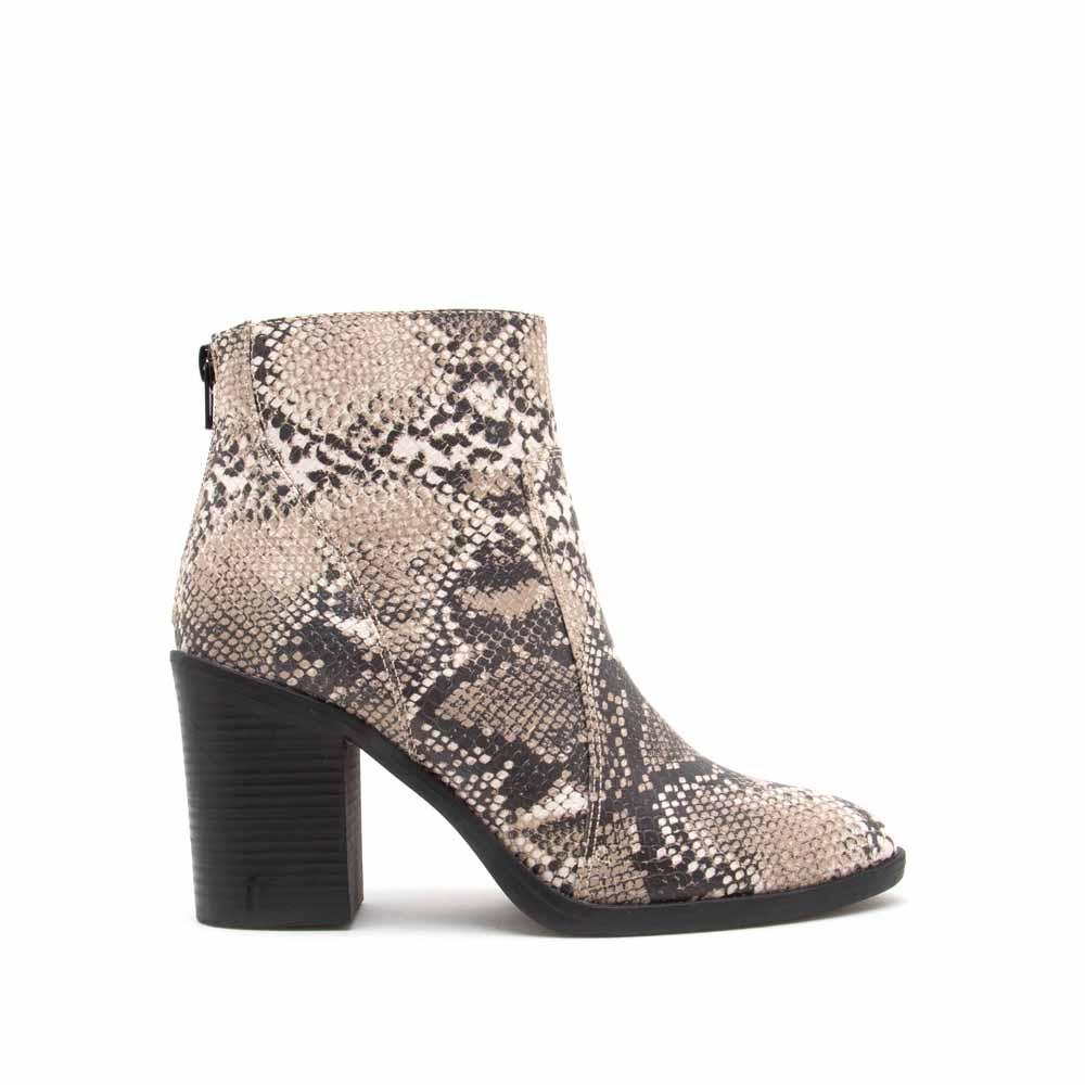 Snatch-01 Beige Brown Snake Western Booties