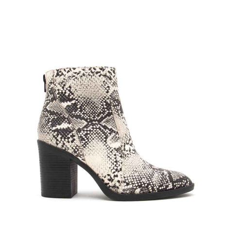 Snatch-01 Stone Black Snake Western Booties