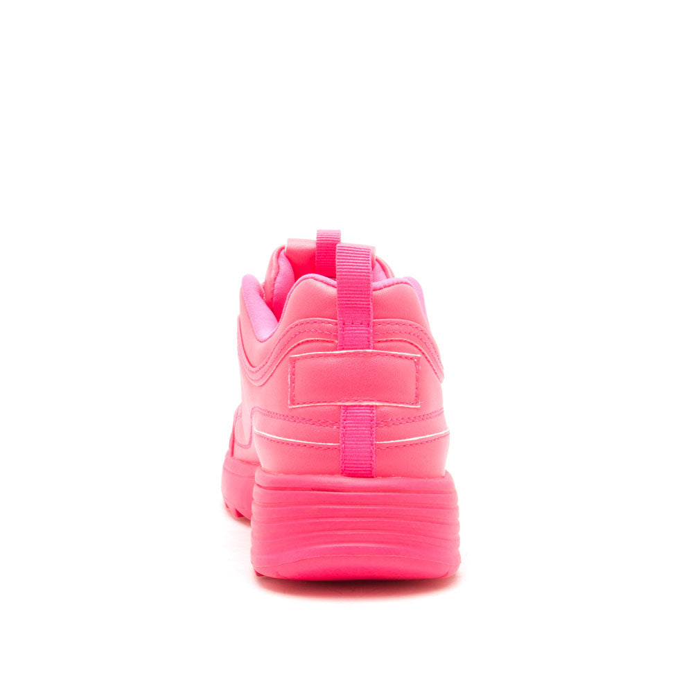 Sneaky-01X Neon Fuchsia Lace Up Sneakers