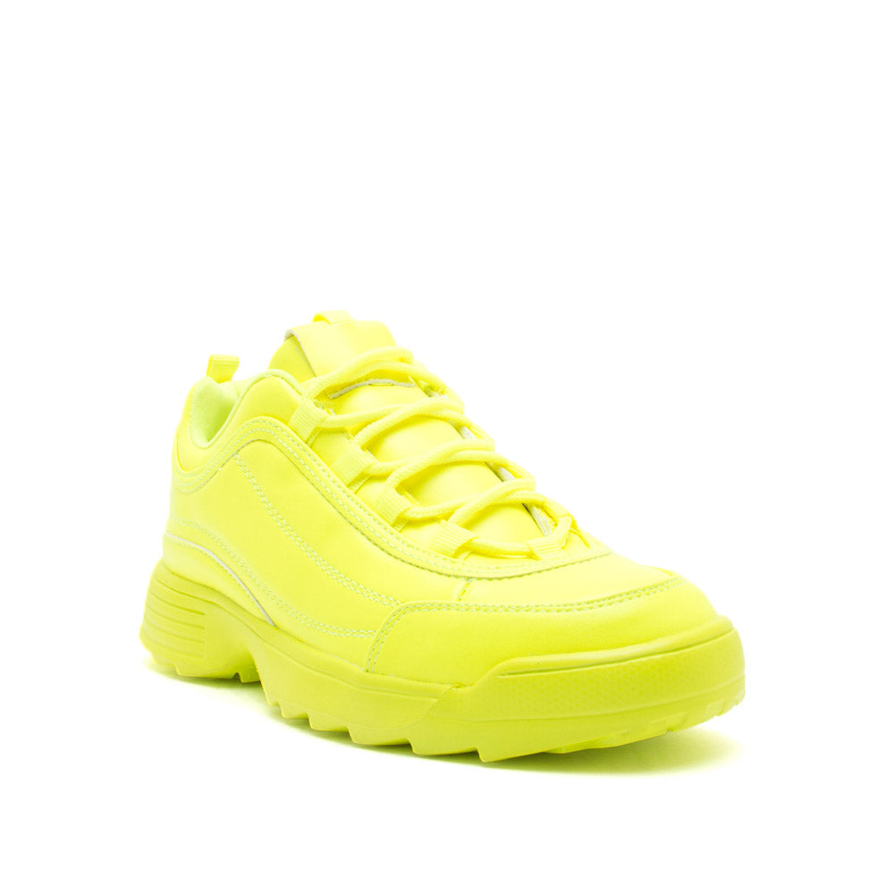Sneaky-01X Neon Yellow Lace Up Sneakers