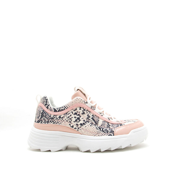 Sneaky-03 Beige Blush Snake Lace Up Sneakers