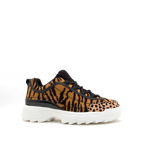 Sneaky-03 Camel Black Tiger Lace Up Sneakers