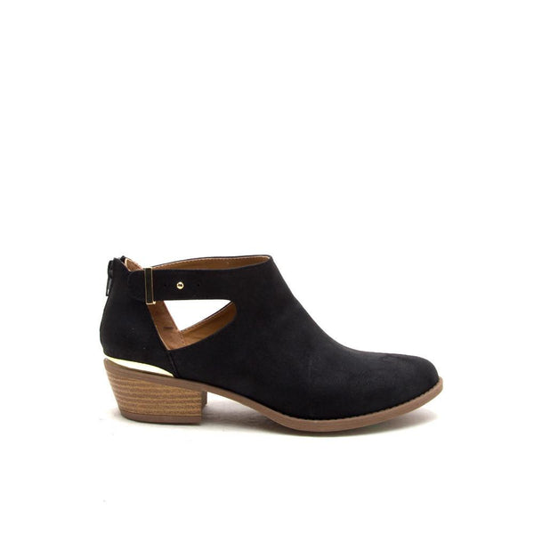 SOCHI-105 Black Buckled Low Ankle Bootie
