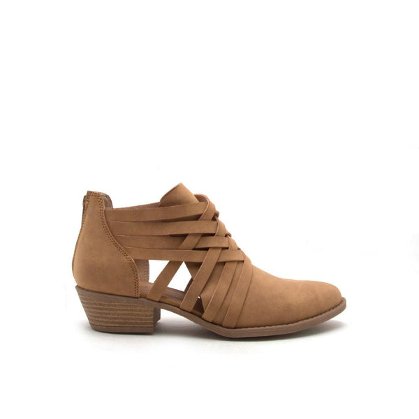 Sochi-109 Tan Strappy Open Panel Bootie