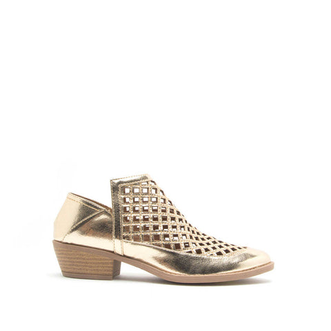 Sochi-134 Gold Crinkle Metallic Perforated Bootie