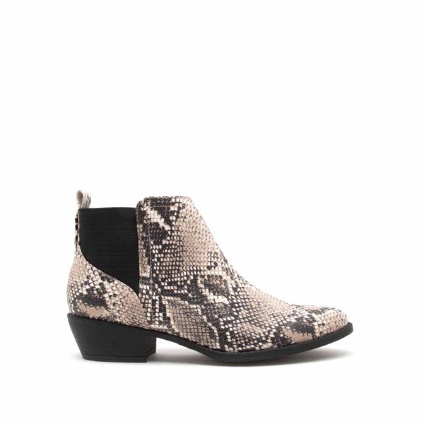 Sochi-217 Beige Brown Snake Chelsea Booties