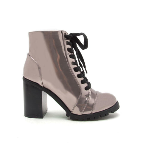 Sorrento-25 Pewter Metallic Lace Up Bootie