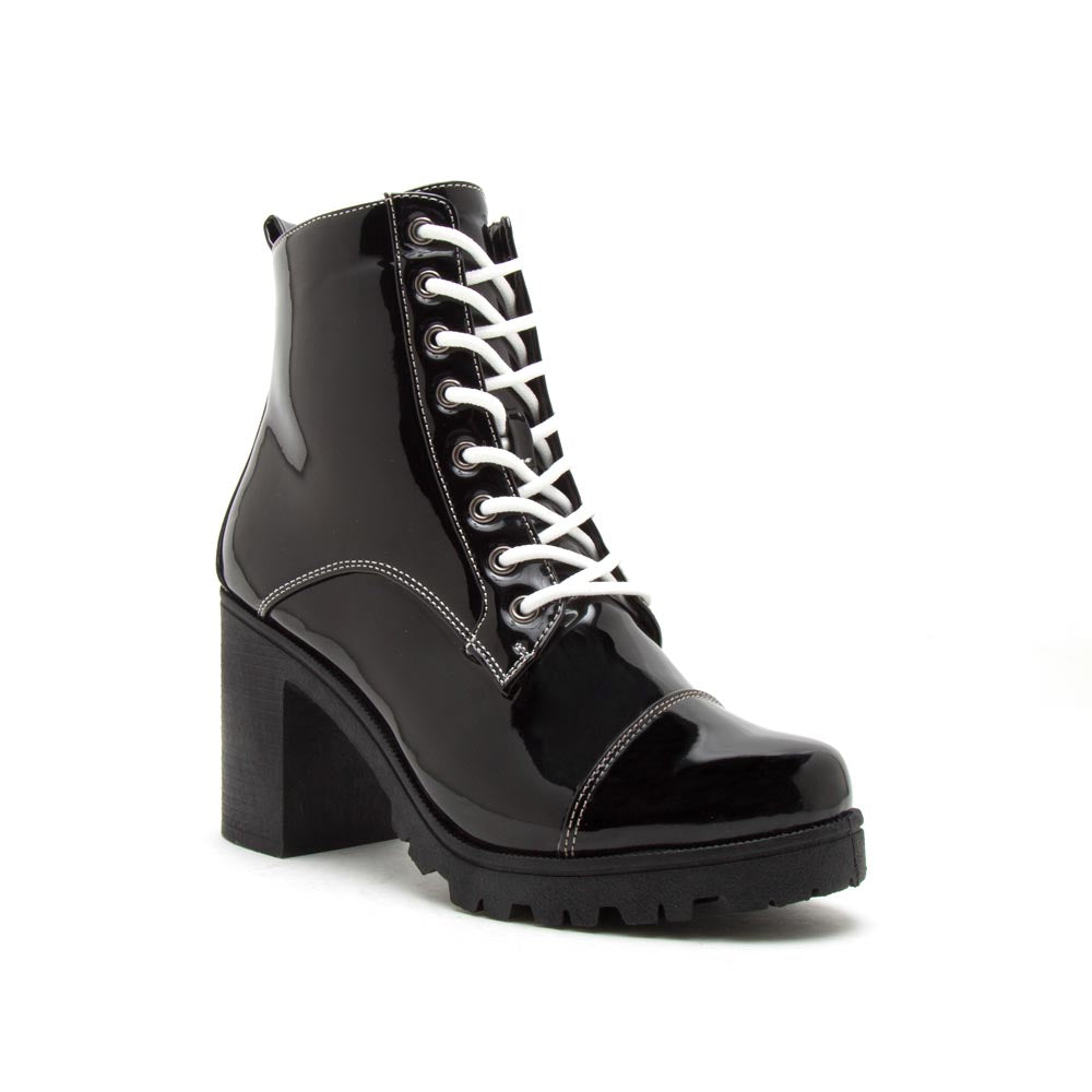 Sorrento-39BX Black Patent Lace Up Booties