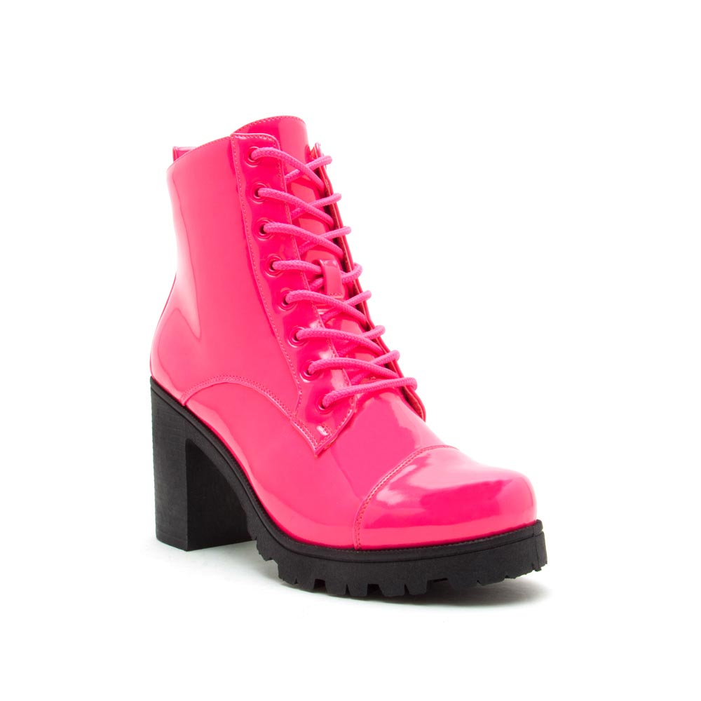 Sorrento-39BX Neon Fuchsia Patent Lace Up Booties