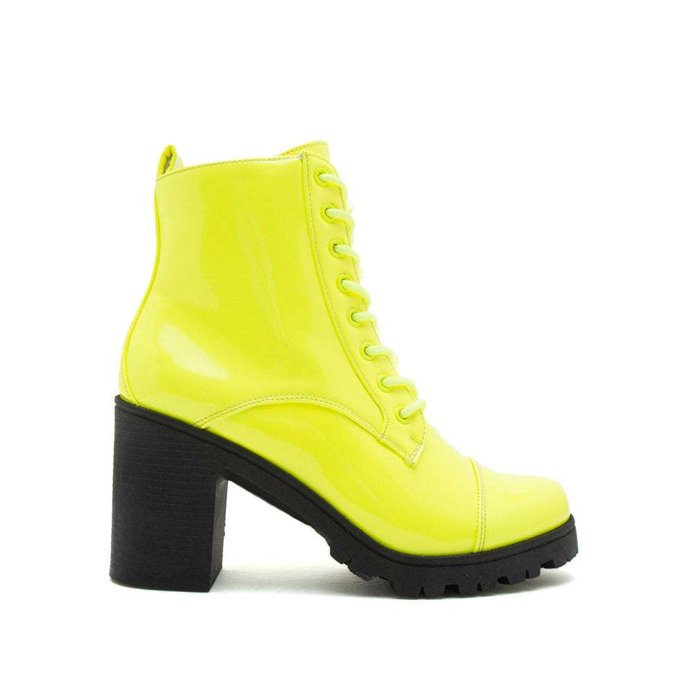 Sorrento-39BX Neon Yellow Patent Lace Up Booties