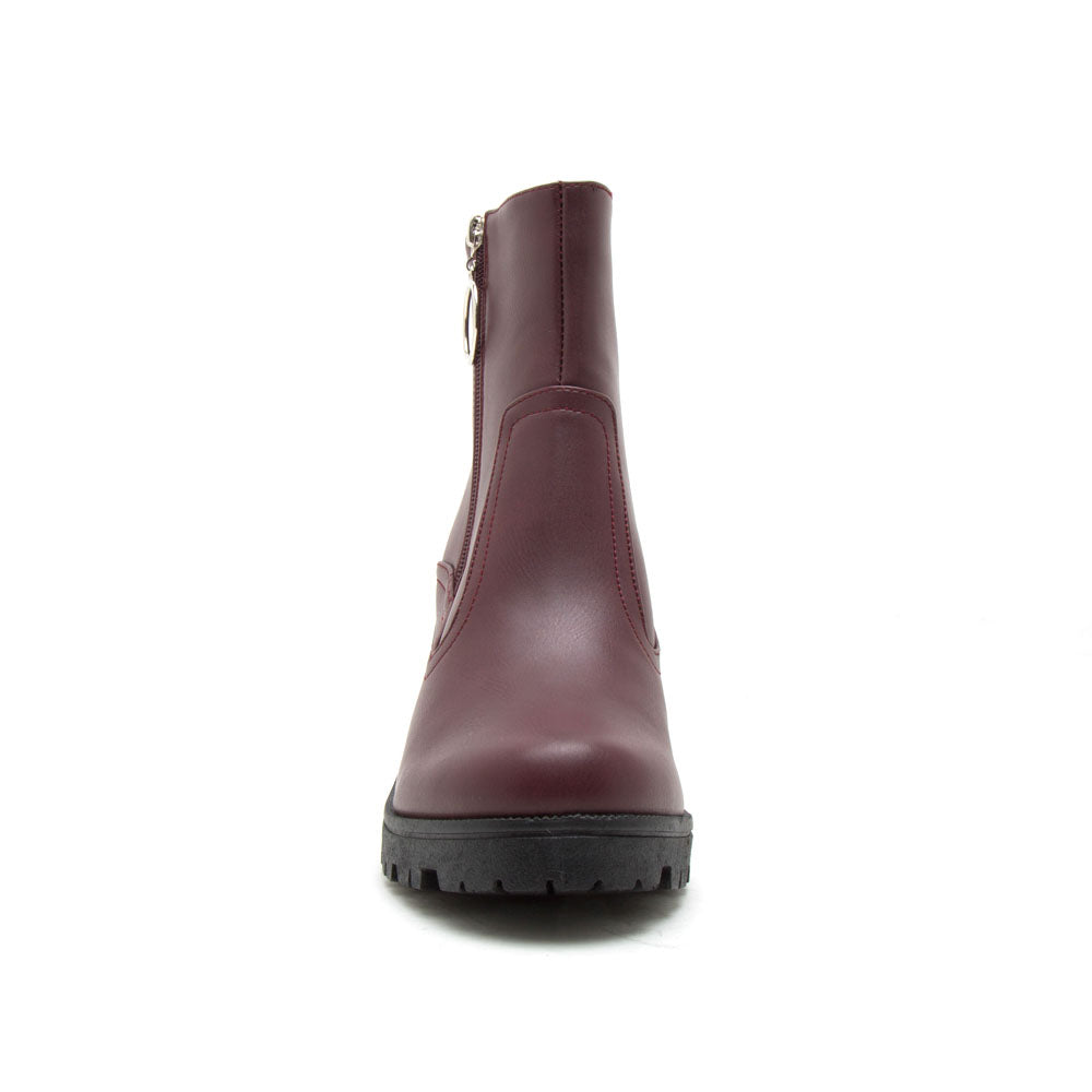 Sorrento-56BX Burgundy Zipper Booties