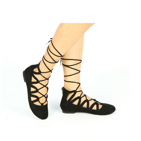 SPARKS-01 Black Crisscross Lace Up Flats