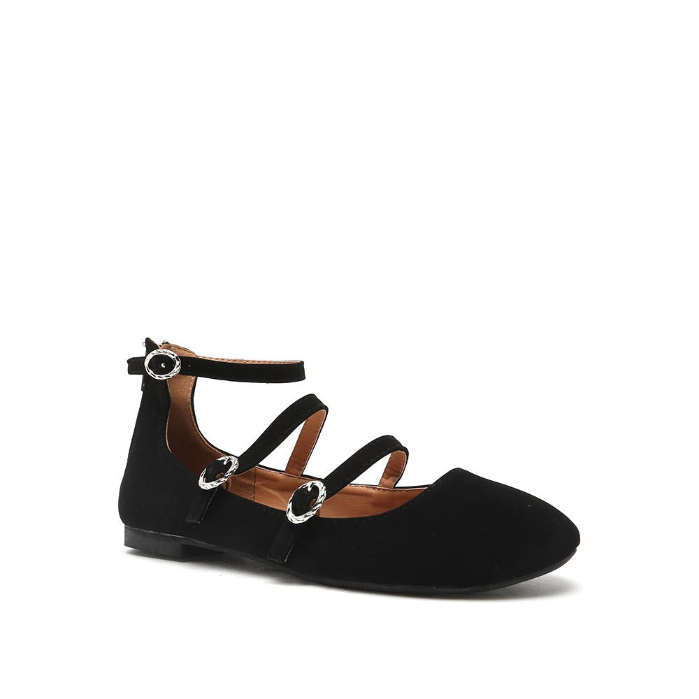 SPARKS-03 Black Three Strap Ballet Flats