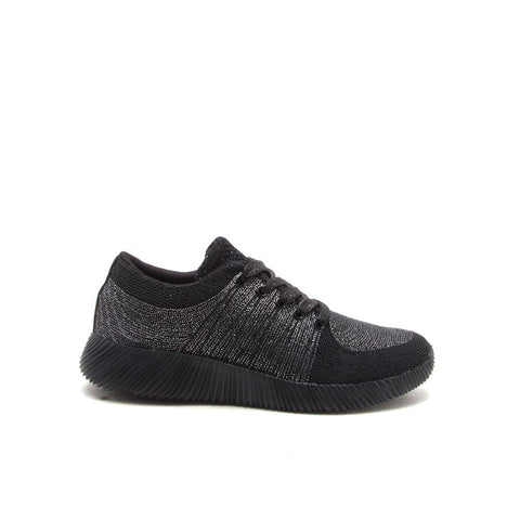SPYROCK-01 Black Lace Up Metallic Sneaker