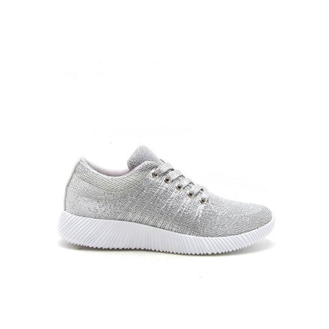 SPYROCK-01 Silver Lace Up Metallic Sneaker