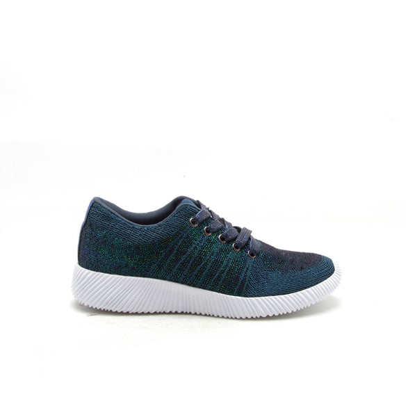 SPYROCK-01 Teal Multi Lace Up Metallic Sneaker