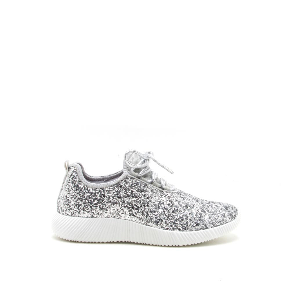 Qupid Women Shoes Spyrock-06 Silver Glitter Sneaker