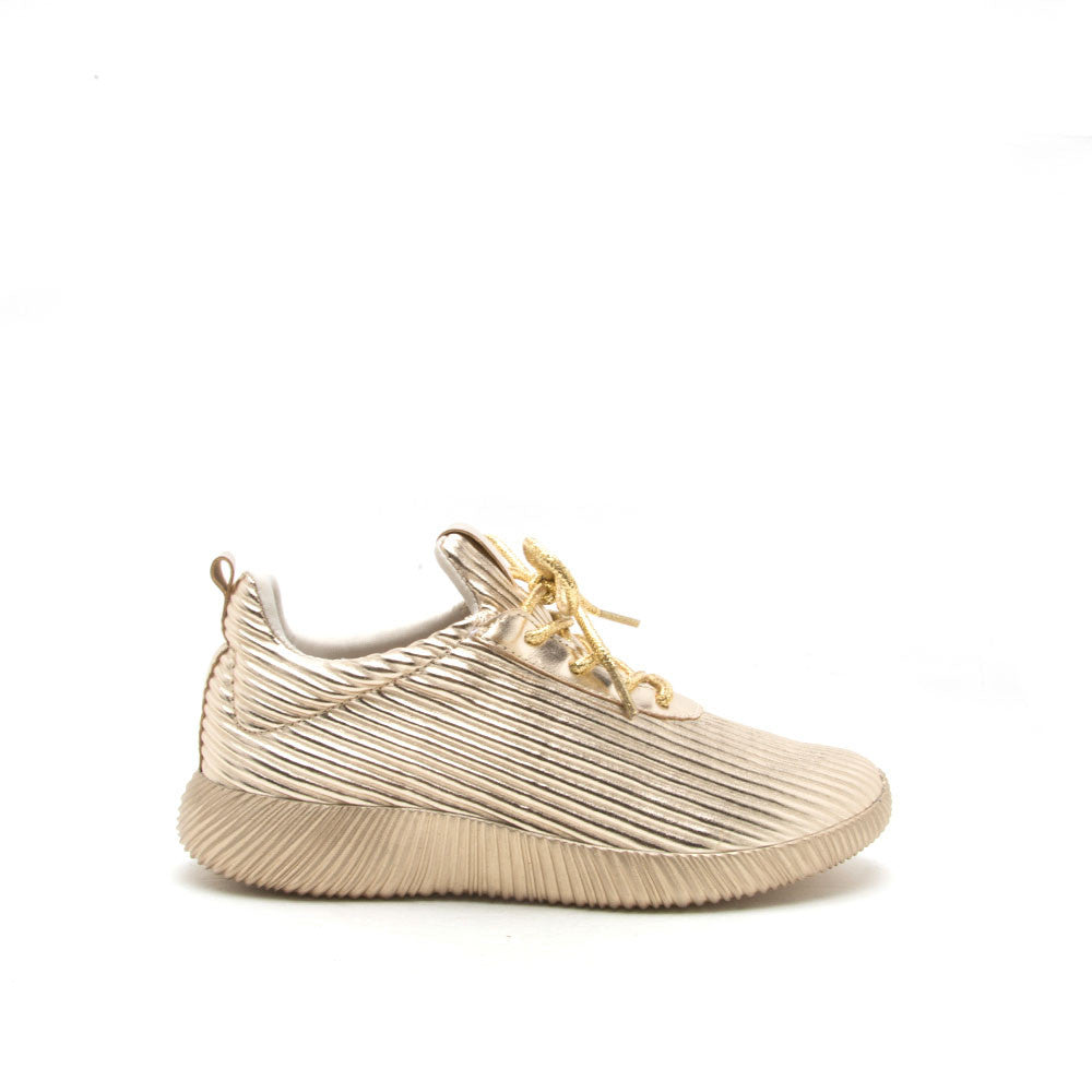 Spyrock-07 Gold Metallic Lace Up Sneaker