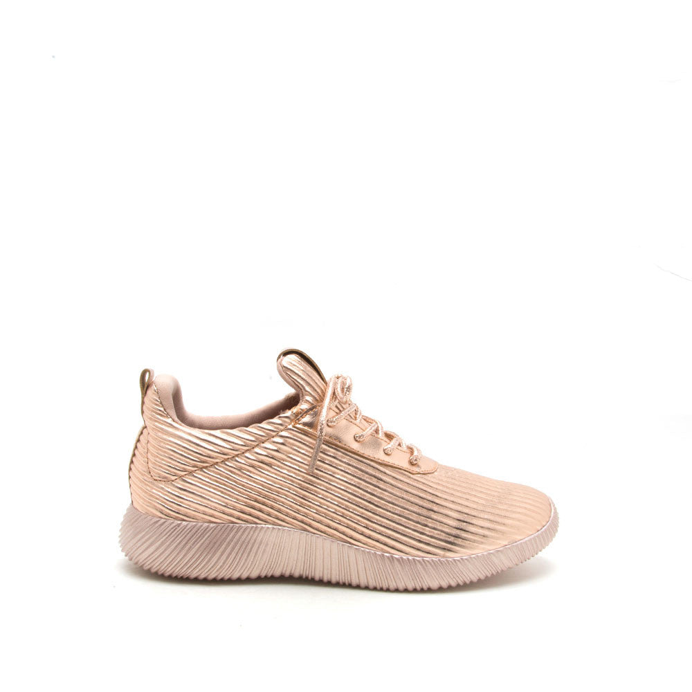 Spyrock-07 Rose Gold Metallic Lace Up Sneaker