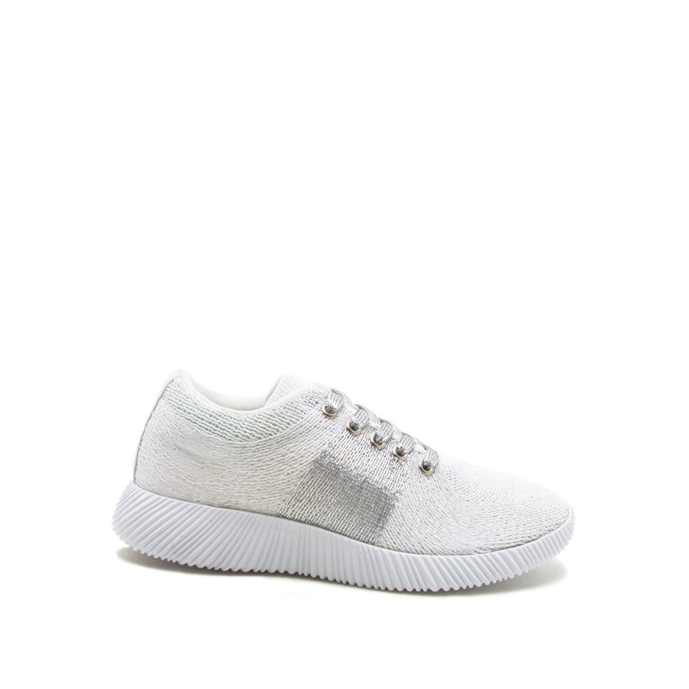 Spyrock-09 White Knit Lace Up Sneaker
