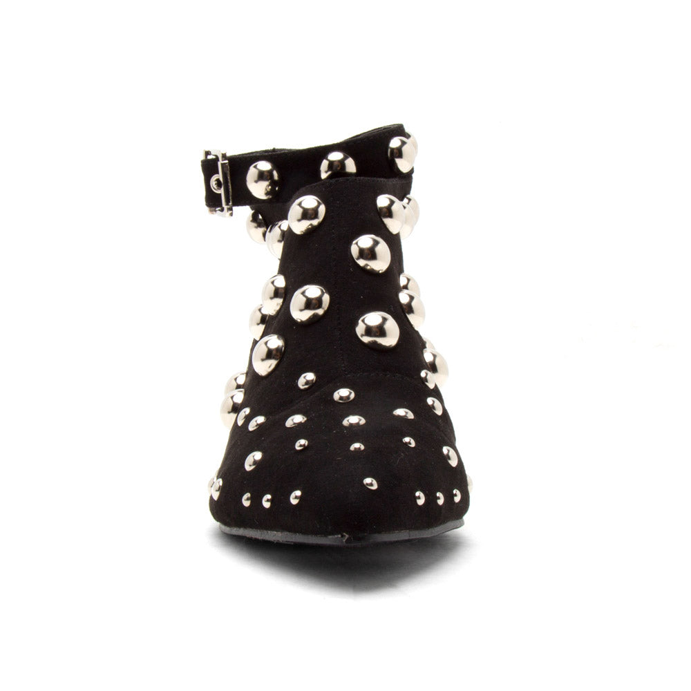 Square-01 Black Studded Mule Sandal