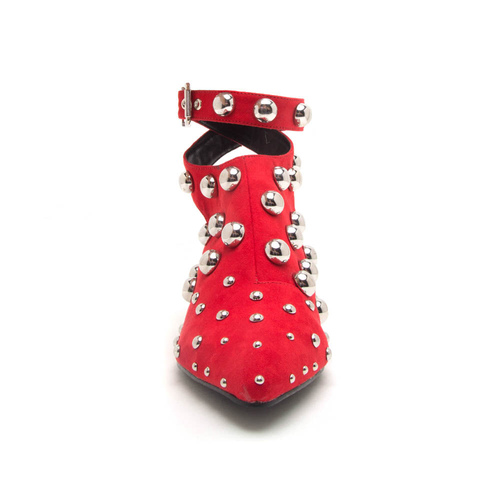 Square-01 Red Studded Mule Sandal