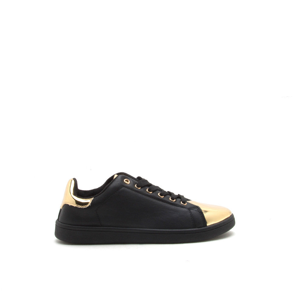 STEWART-01 Black Gold Metallic Cap Toe Sneakers