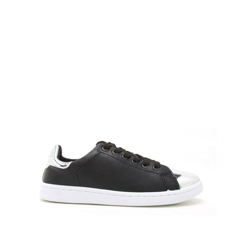 STEWART-01 Black Silver Metallic Cap Toe Sneakers