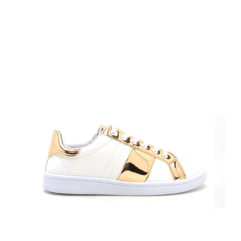 STEWART-02 White/Gold Metallic Stripe Sneakers