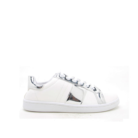 STEWART-02 White/Silver Metallic Stripe Sneakers