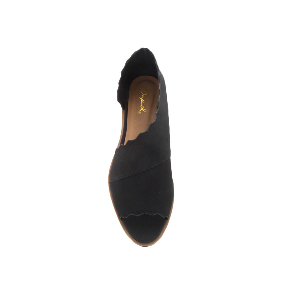 Sting-31 Black Scalloped Ballerinas
