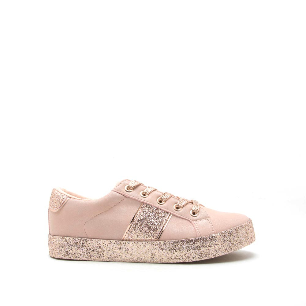 Stocker-01 Nude Rose Gold Glitter Lace Up Sneaker
