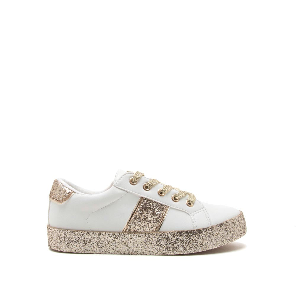 Stocker-01 White Gold Glitter Lace Up Sneaker