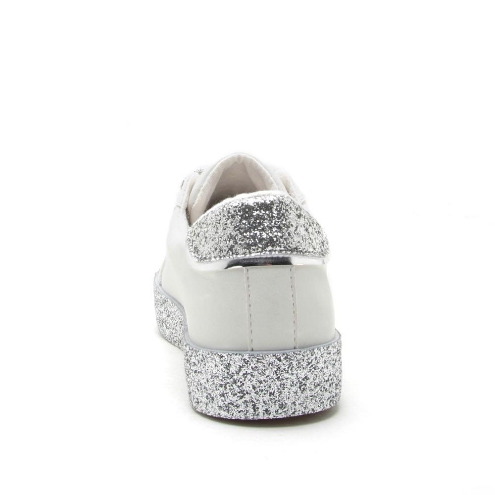 Stocker-01 White Silver Glitter Lace Up Sneaker